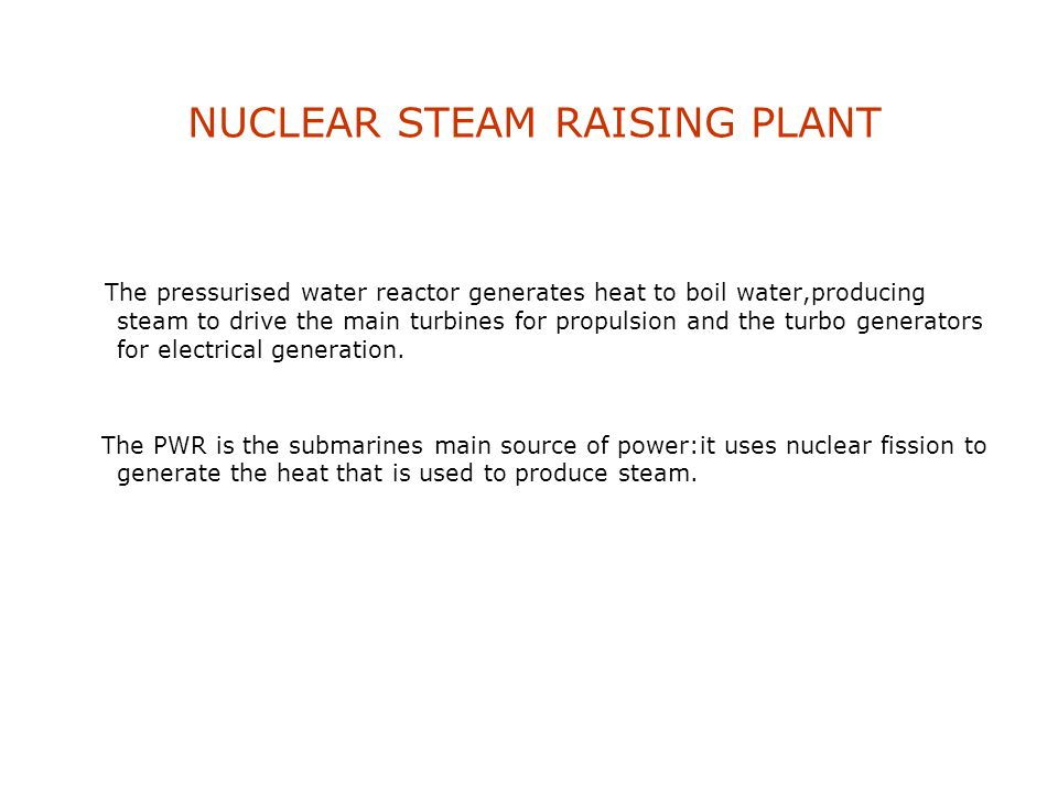 NUCLEAR STEAM RAISING PLANT