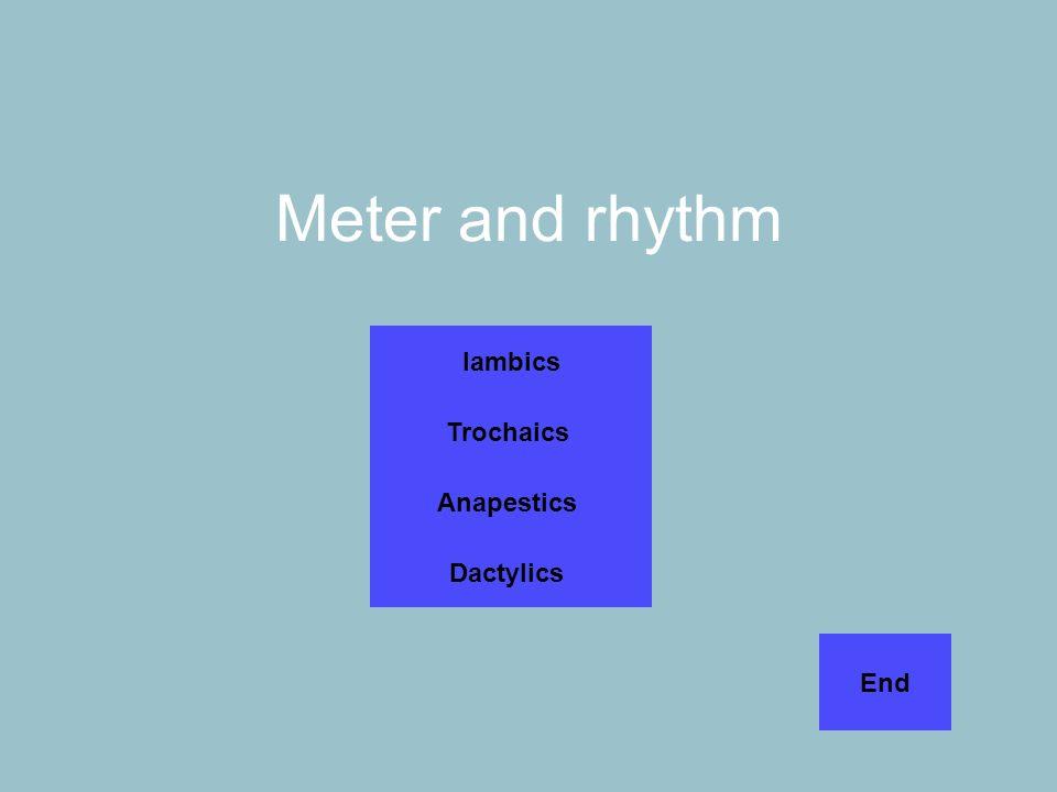 Meter and rhythm Iambics Trochaics Anapestics Dactylics End