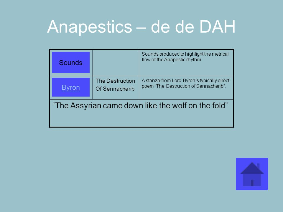 Anapestics – de de DAH Sounds produced to highlight the metrical flow of the Anapestic rhythm. The Destruction.