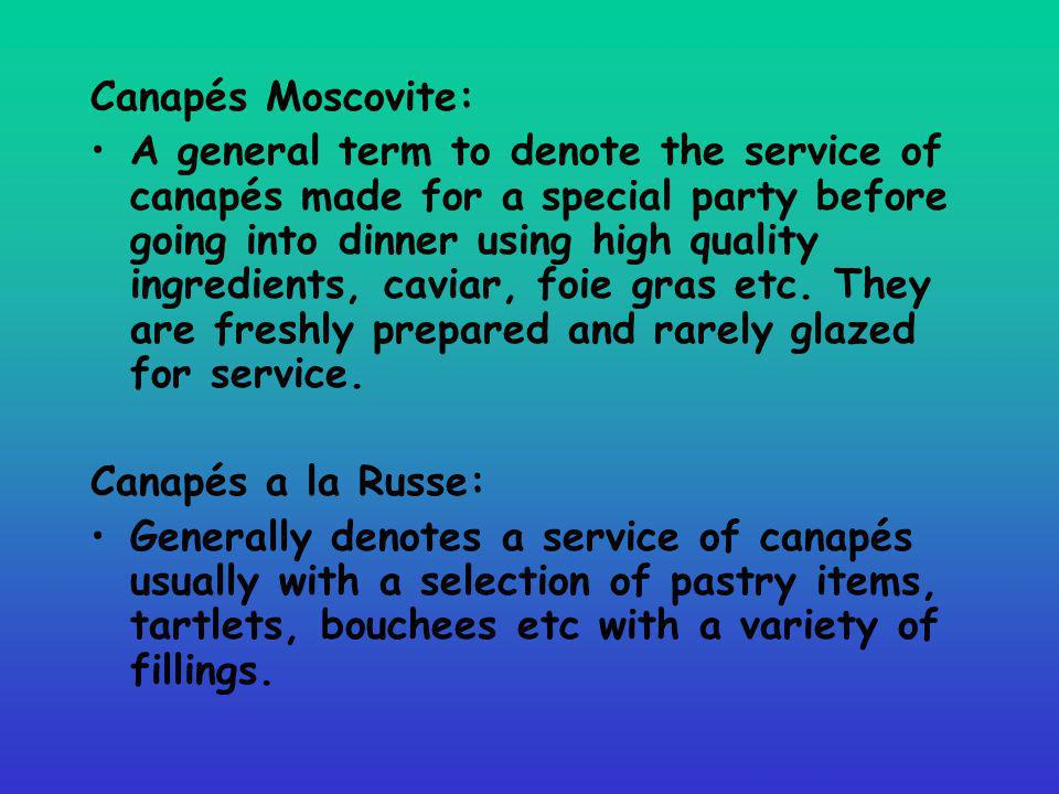 Canapés Moscovite: