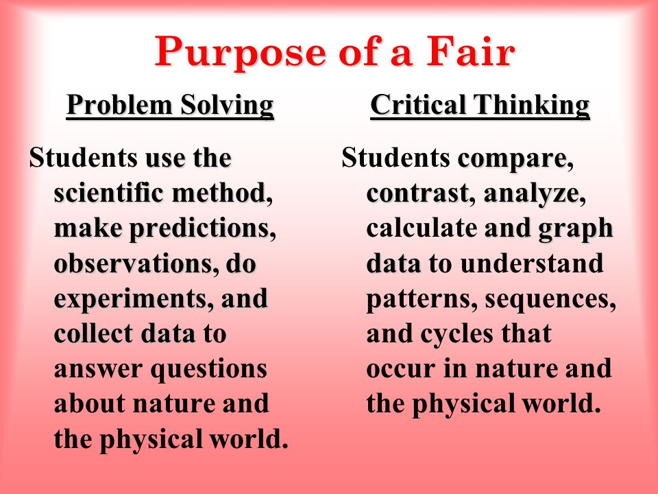 scientific method and the problem solving approach The scientific method requires that an hypothesis be ruled out or modified if its predictions are clearly and it is also useful in everyday problem-solving further investigations of the scientific method and other aspects of scientific practice may be found in the references.