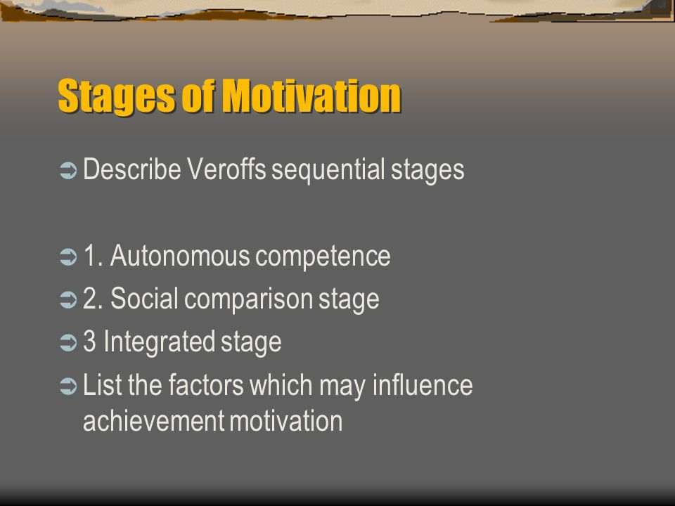 Stages of Motivation Describe Veroffs sequential stages