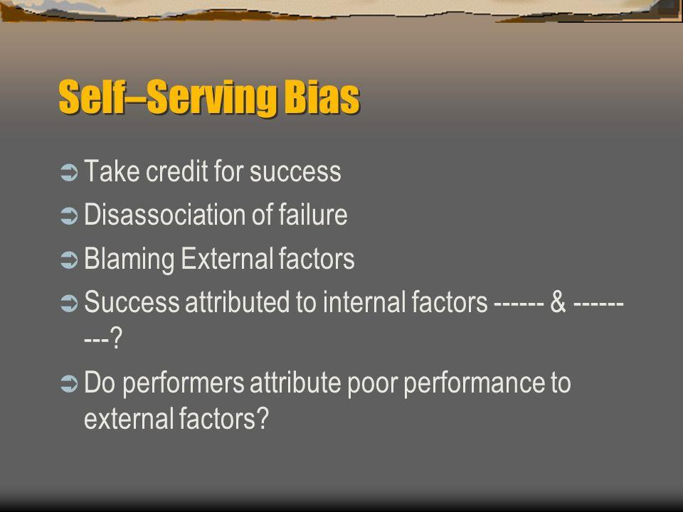 Self–Serving Bias Take credit for success Disassociation of failure