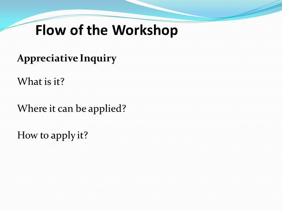 Flow of the Workshop Appreciative Inquiry What is it