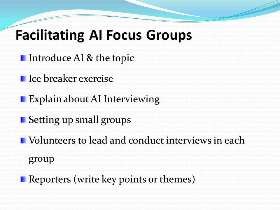 Facilitating AI Focus Groups
