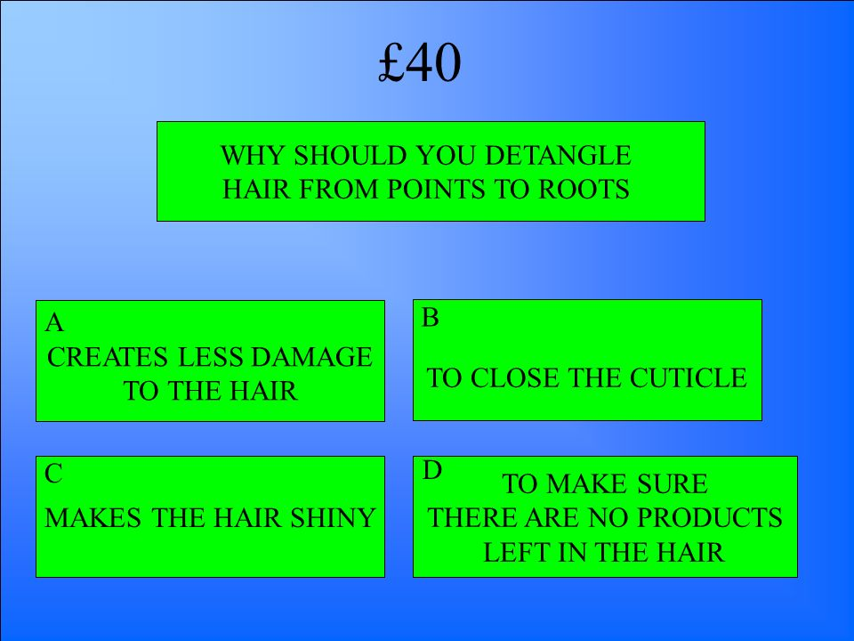£40 WHY SHOULD YOU DETANGLE HAIR FROM POINTS TO ROOTS B