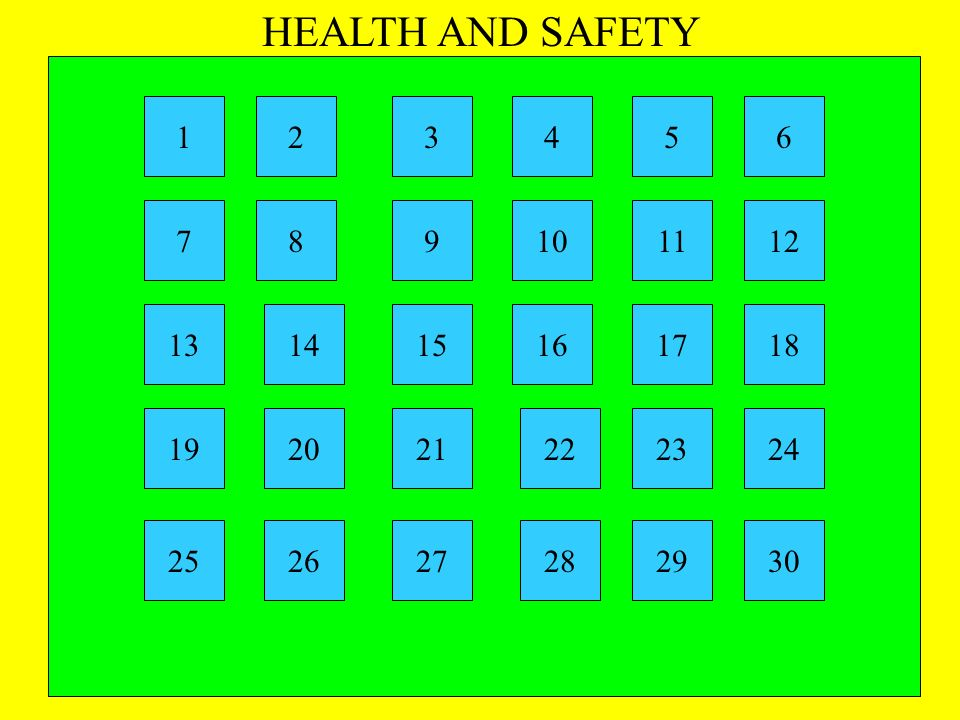 HEALTH AND SAFETY 1 2 3 4 5 6 7 8 9 10 11 12 13 14 15 16 17 18 19 20 21 22 23 24 25 26 27 28 29 30