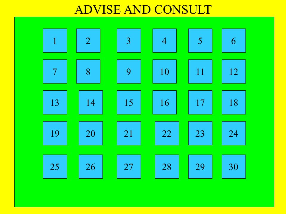 ADVISE AND CONSULT 1 2 3 4 5 6 7 8 9 10 11 12 13 14 15 16 17 18 19 20 21 22 23 24 25 26 27 28 29 30
