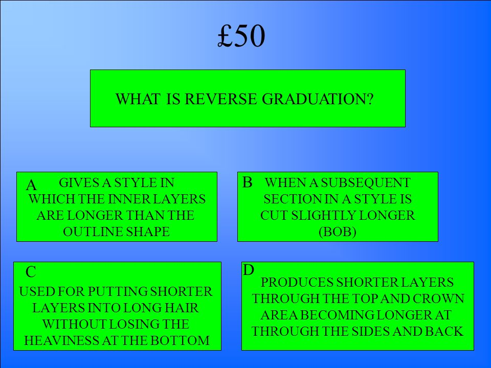 £50 WHAT IS REVERSE GRADUATION B A D C GIVES A STYLE IN
