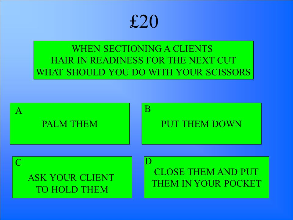 £20 WHEN SECTIONING A CLIENTS HAIR IN READINESS FOR THE NEXT CUT