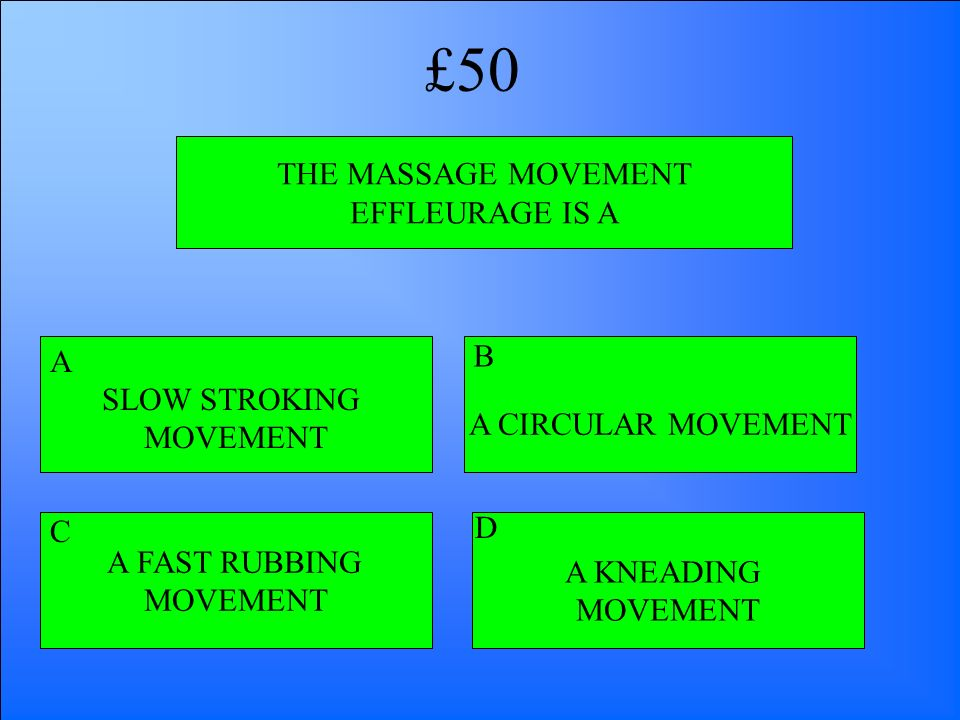 £50 THE MASSAGE MOVEMENT EFFLEURAGE IS A B A SLOW STROKING