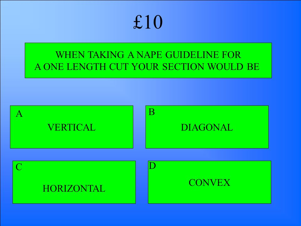 £10 WHEN TAKING A NAPE GUIDELINE FOR