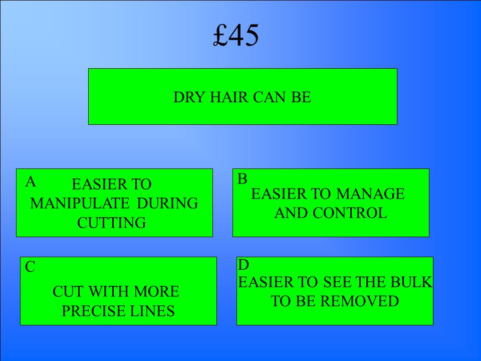 £45 DRY HAIR CAN BE B A EASIER TO EASIER TO MANAGE MANIPULATE DURING
