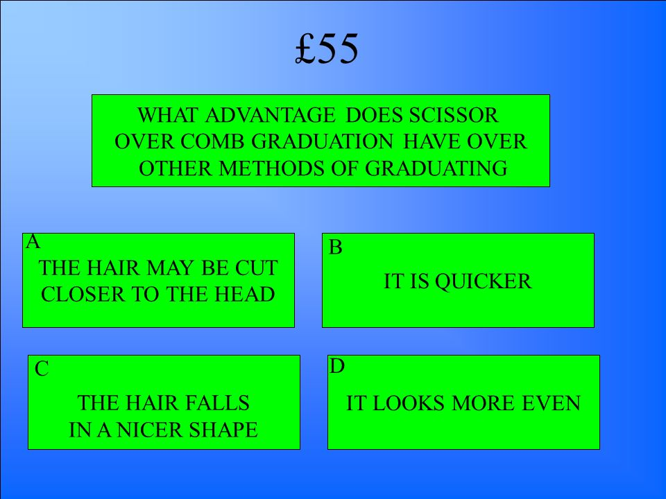 £55 WHAT ADVANTAGE DOES SCISSOR OVER COMB GRADUATION HAVE OVER