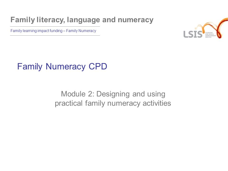 Module 2: Designing and using practical family numeracy activities
