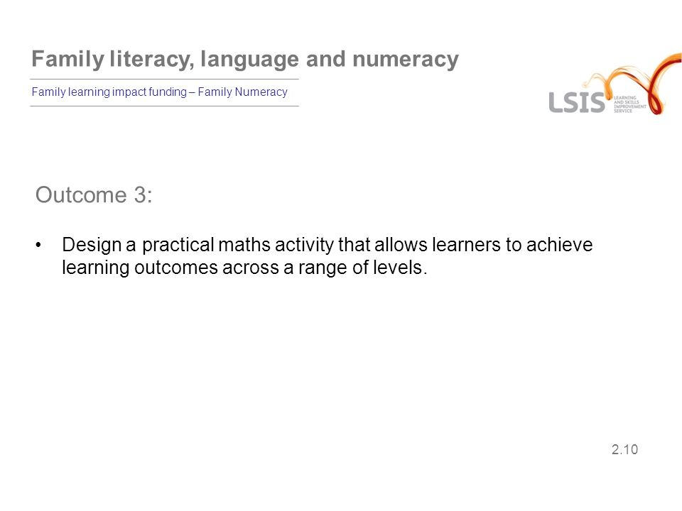 Outcome 3: Design a practical maths activity that allows learners to achieve learning outcomes across a range of levels.