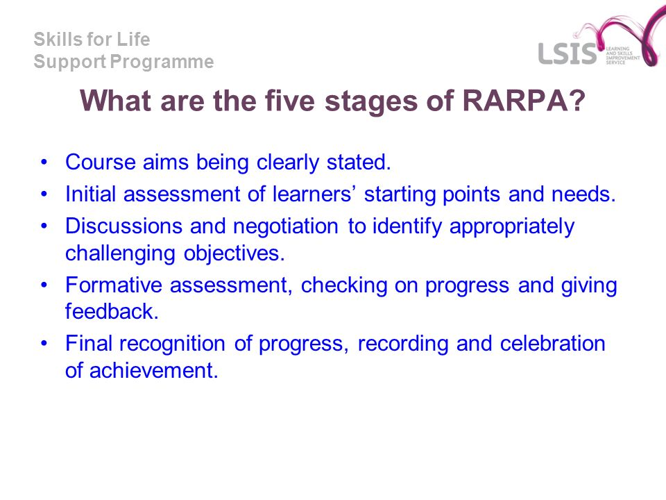 What are the five stages of RARPA