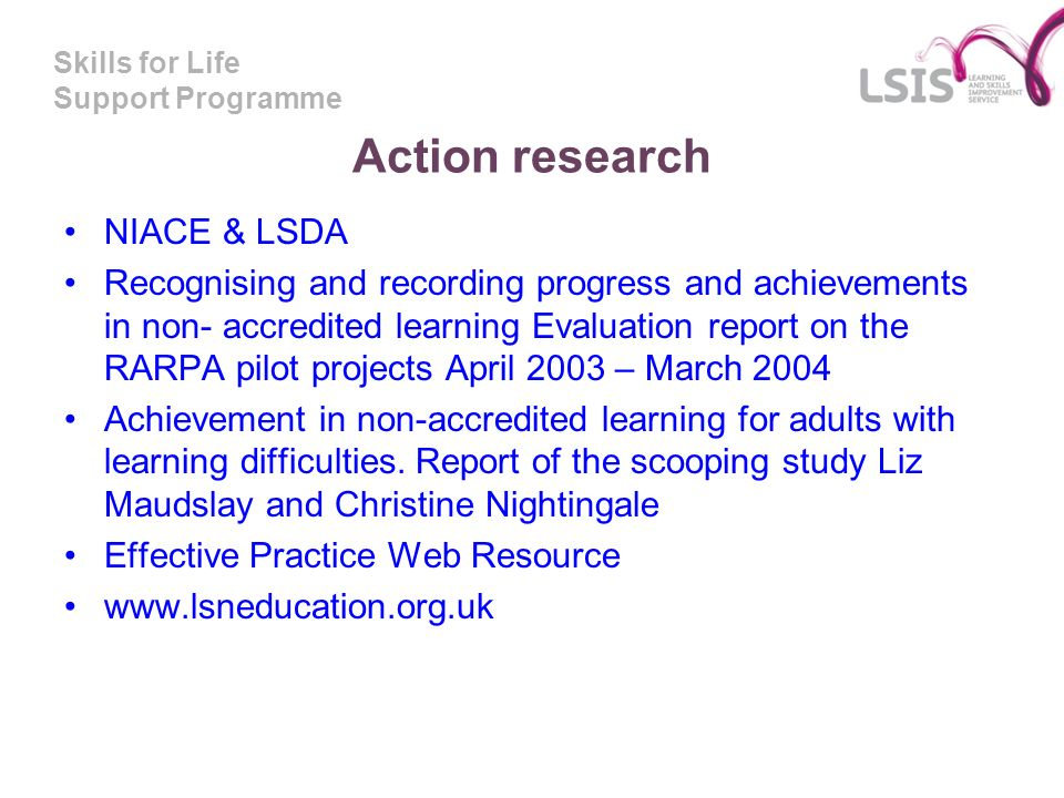 Action research NIACE & LSDA