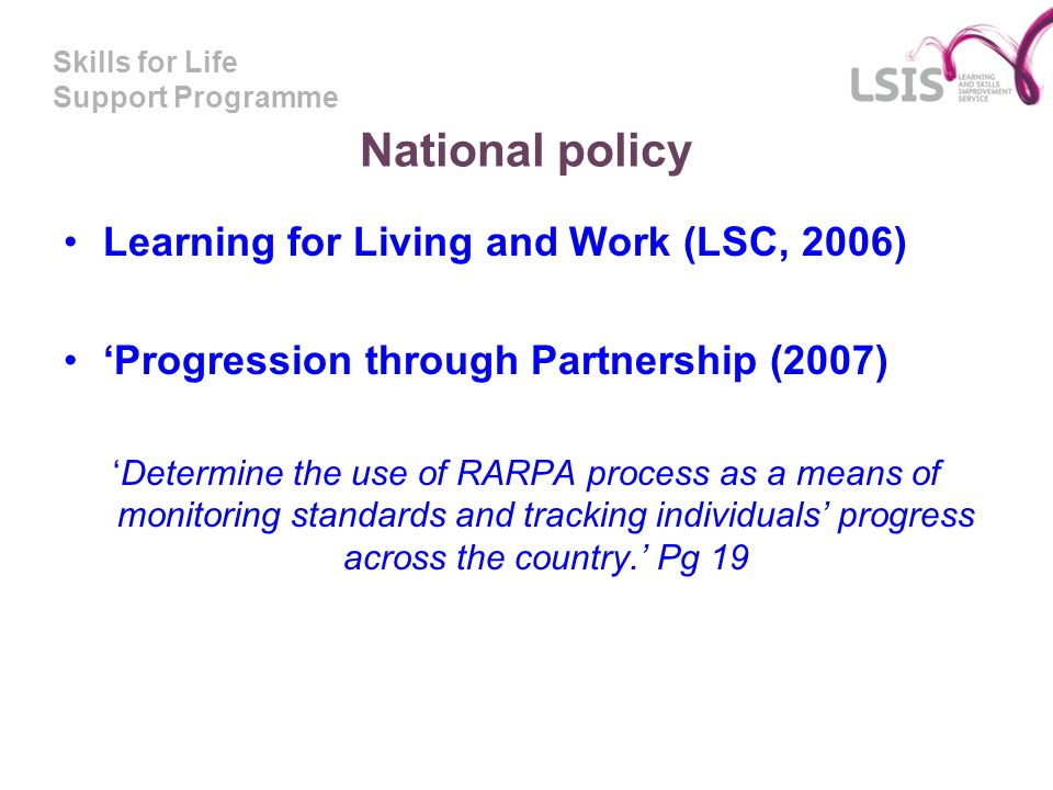 National policy Learning for Living and Work (LSC, 2006)