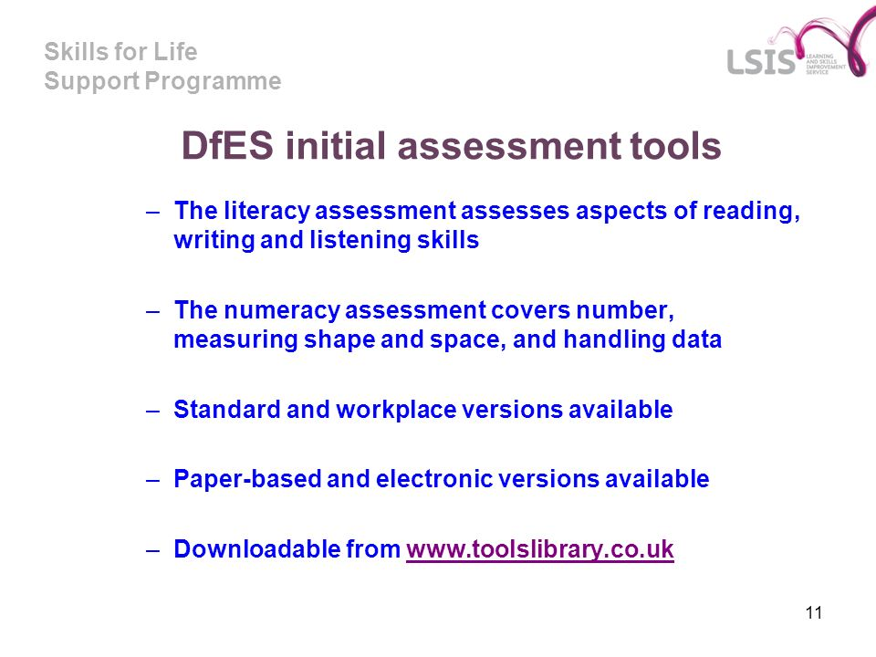 DfES initial assessment tools