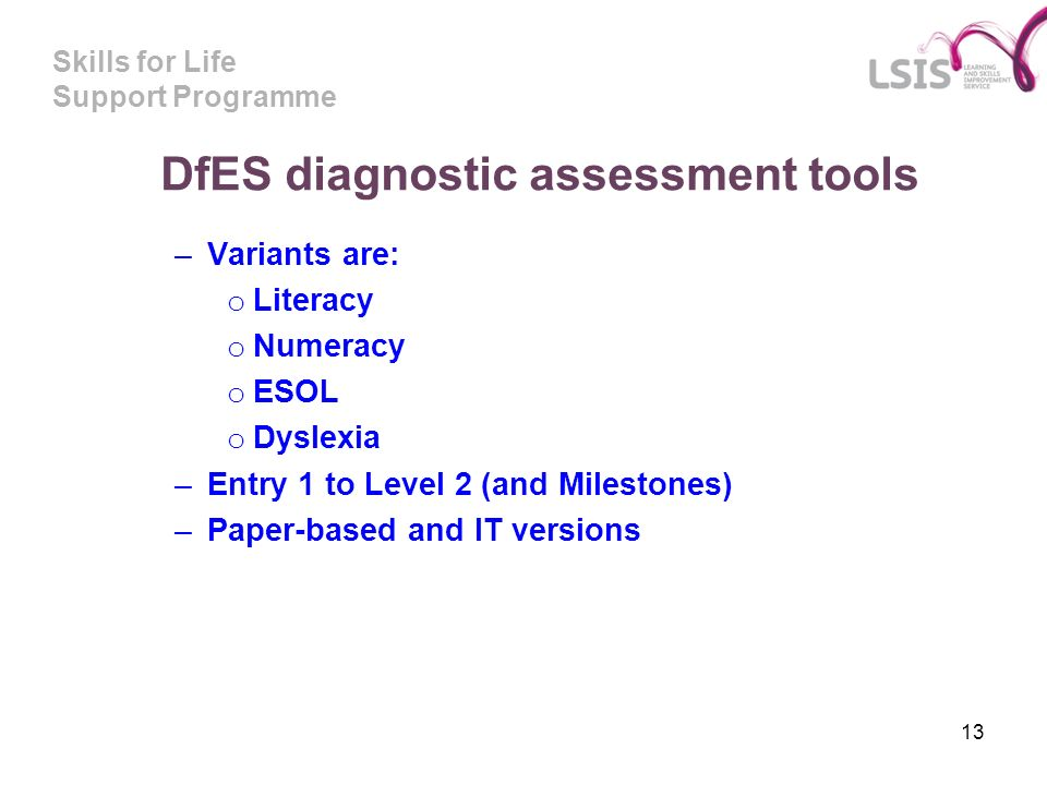 DfES diagnostic assessment tools