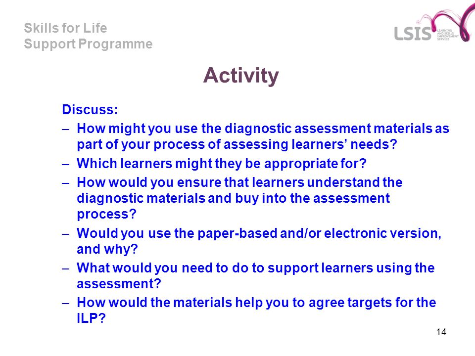 Activity Discuss: How might you use the diagnostic assessment materials as part of your process of assessing learners' needs