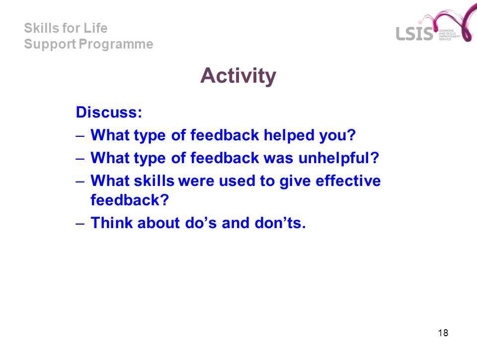 Activity Discuss: What type of feedback helped you