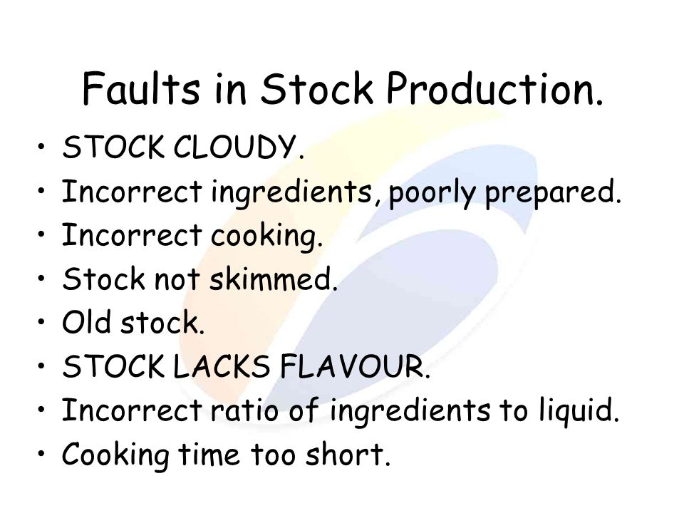 Faults in Stock Production.