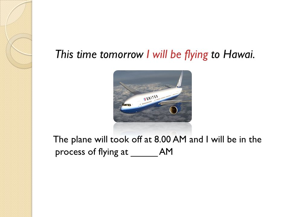 This time tomorrow I will be flying to Hawai.