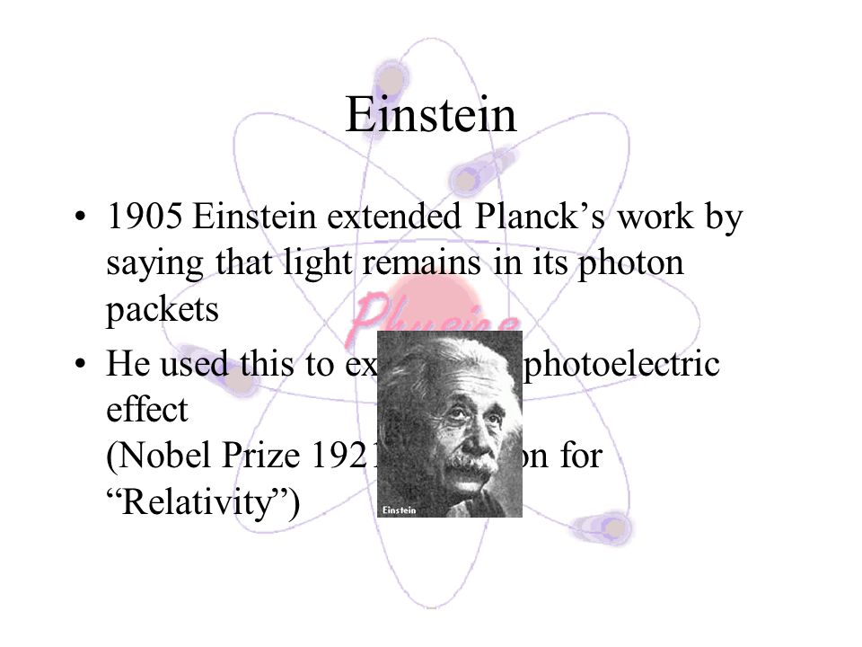 Einstein 1905 Einstein extended Planck's work by saying that light remains in its photon packets.