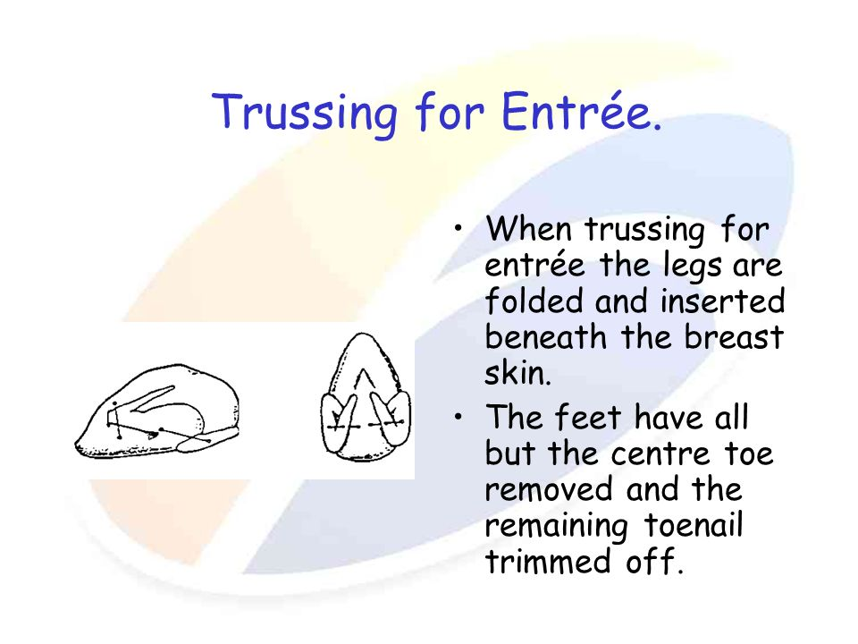 Trussing for Entrée. When trussing for entrée the legs are folded and inserted beneath the breast skin.