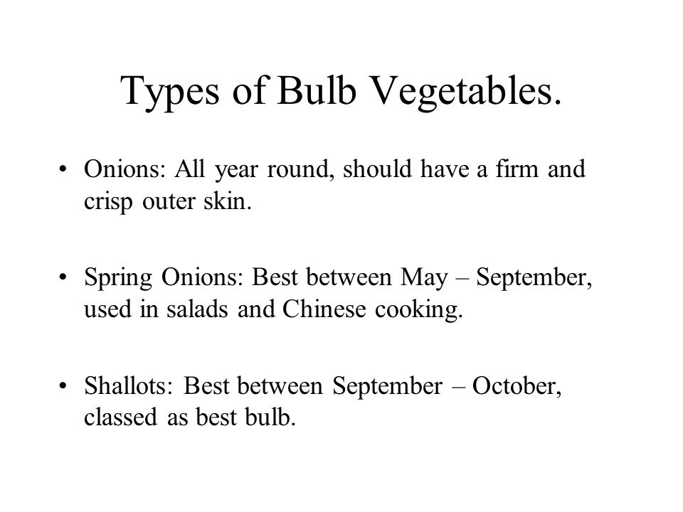 Types of Bulb Vegetables.