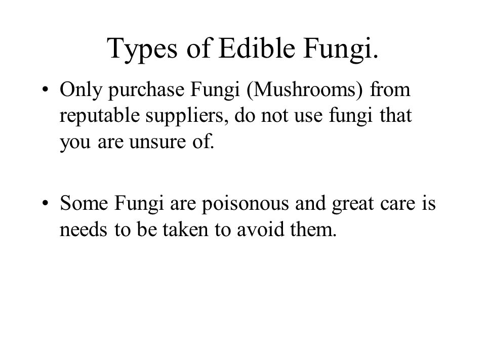 Types of Edible Fungi. Only purchase Fungi (Mushrooms) from reputable suppliers, do not use fungi that you are unsure of.