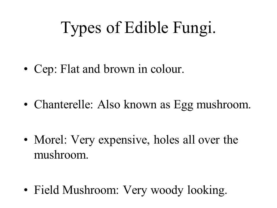Types of Edible Fungi. Cep: Flat and brown in colour.