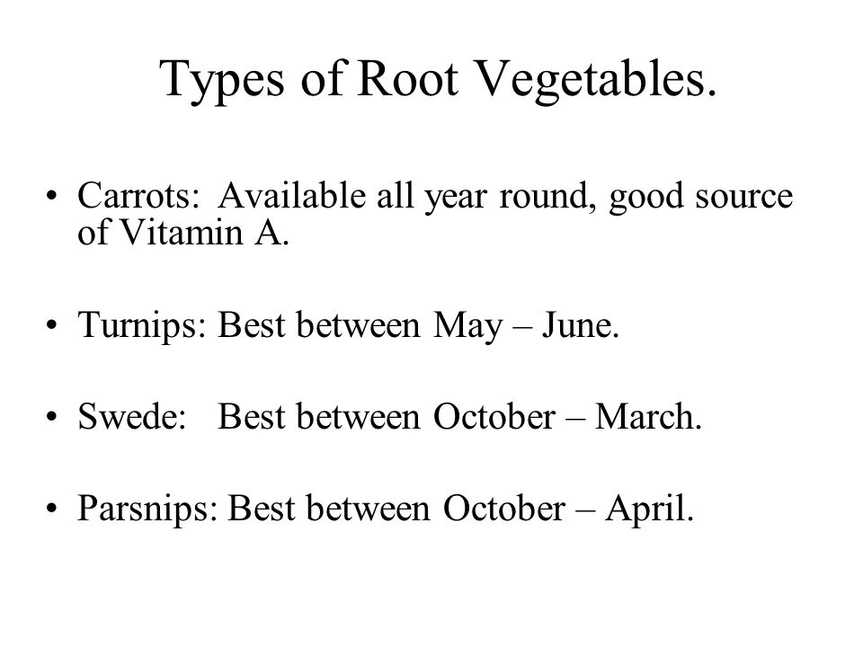 Types of Root Vegetables.
