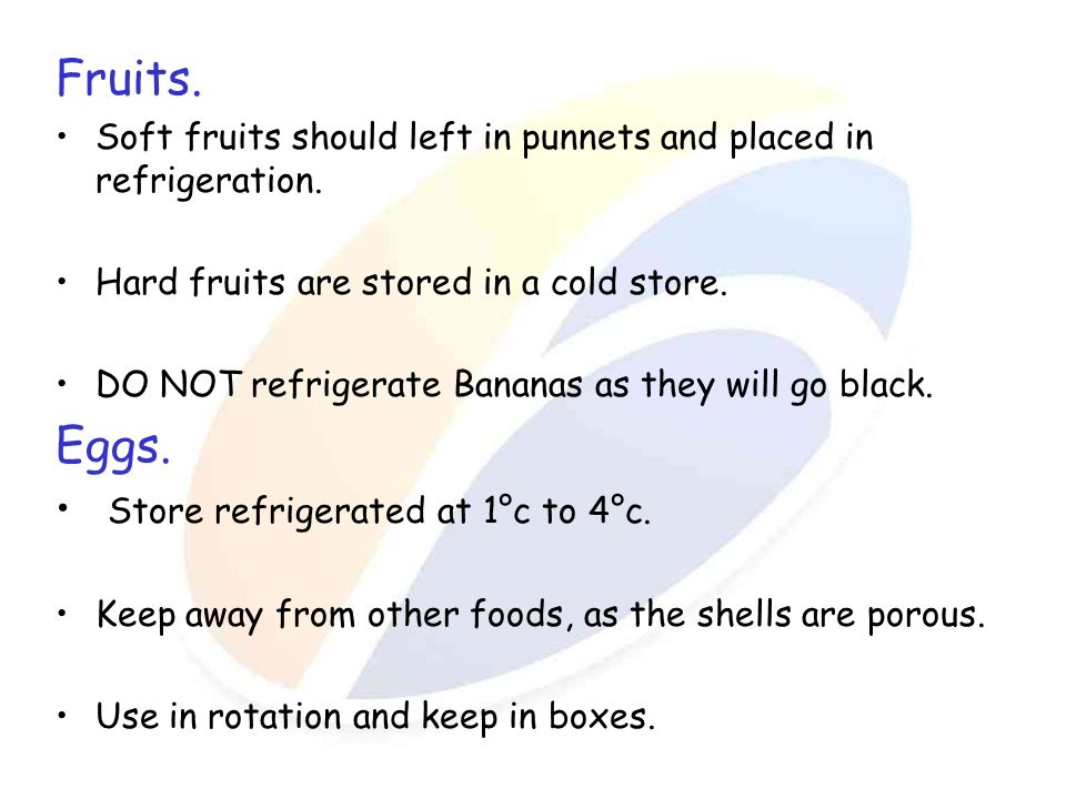 Fruits. Eggs. Store refrigerated at 1°c to 4°c.