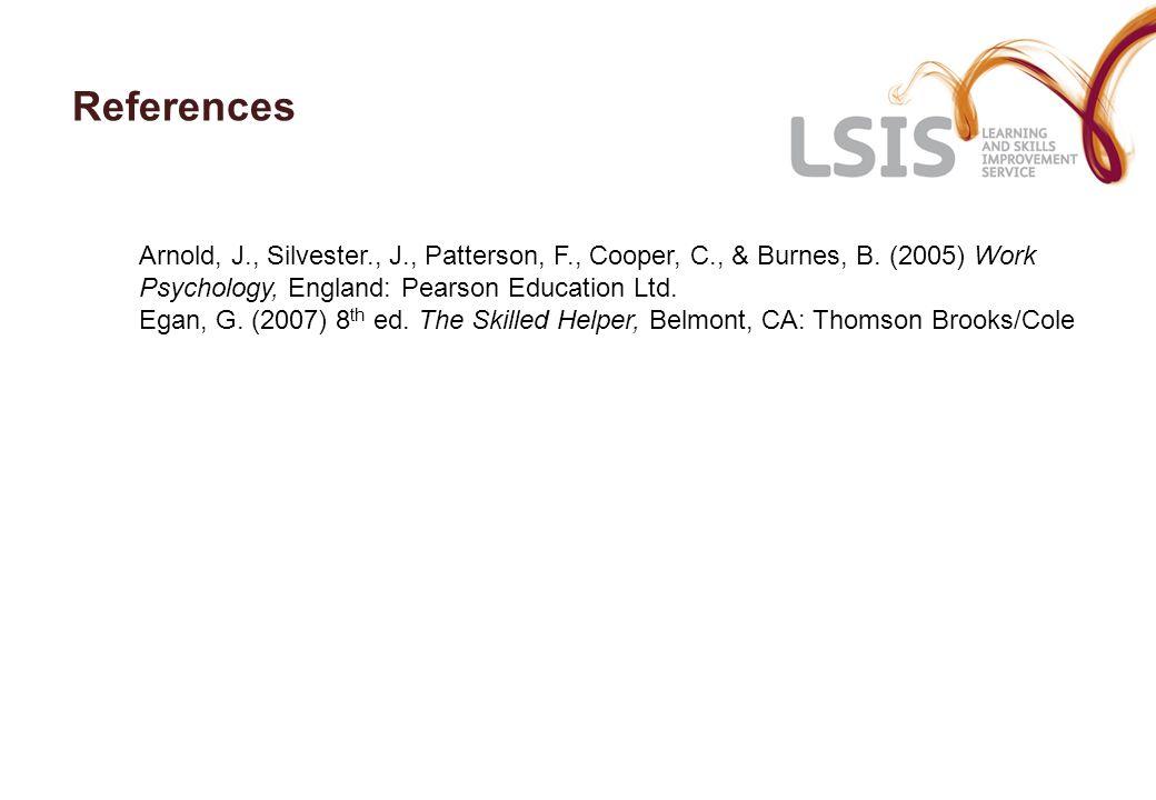 References Arnold, J., Silvester., J., Patterson, F., Cooper, C., & Burnes, B. (2005) Work Psychology, England: Pearson Education Ltd.
