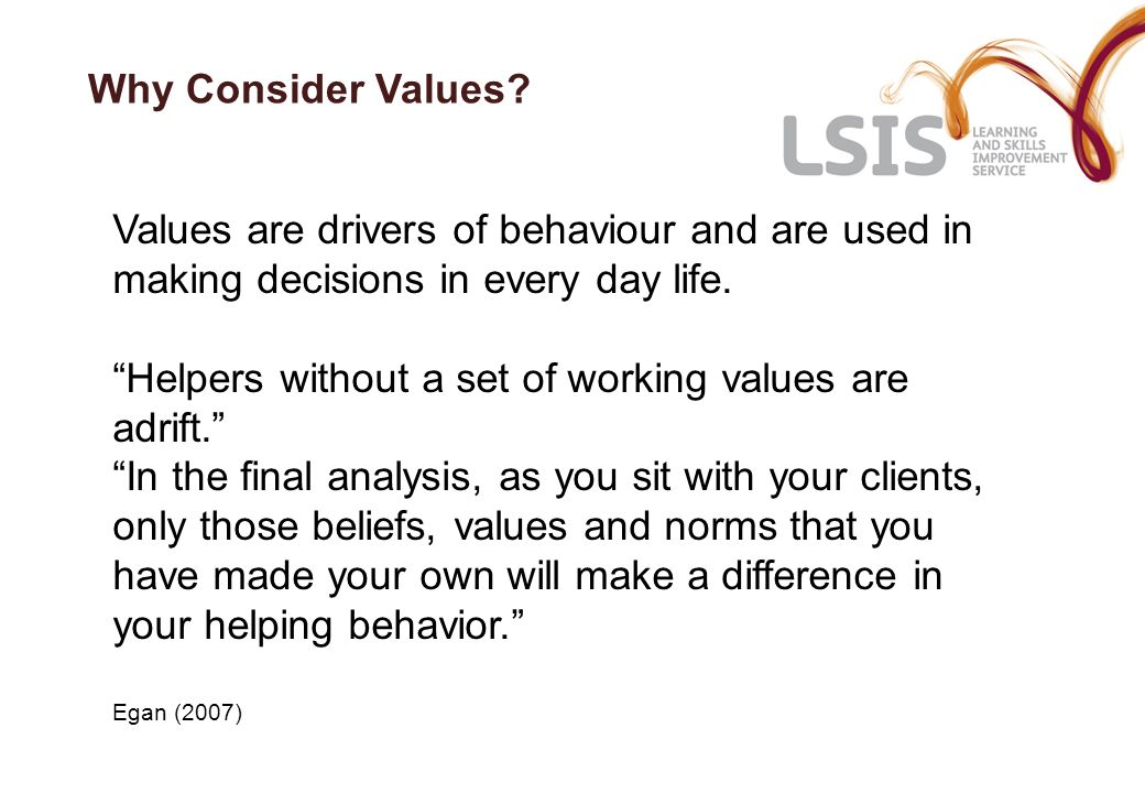 Helpers without a set of working values are adrift.