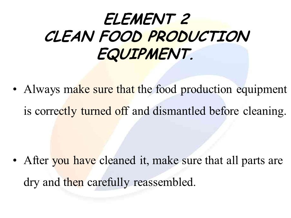 ELEMENT 2 CLEAN FOOD PRODUCTION EQUIPMENT.