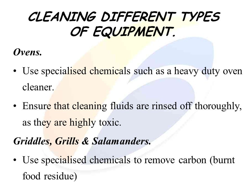 CLEANING DIFFERENT TYPES OF EQUIPMENT.