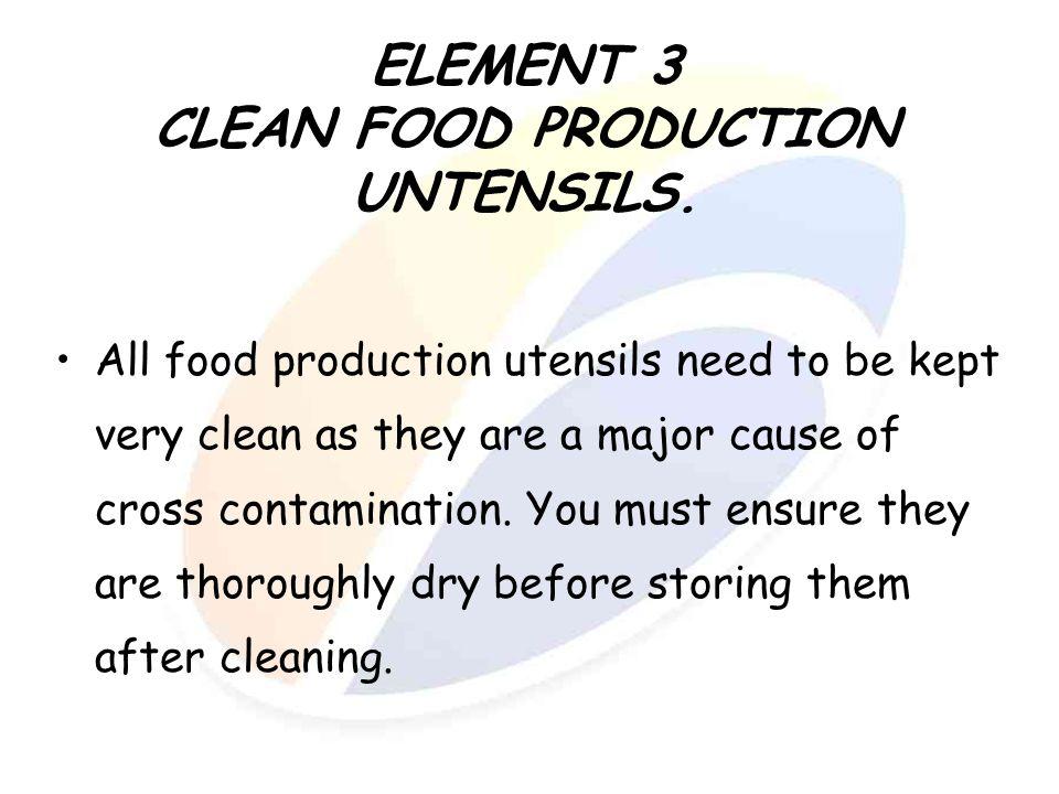 ELEMENT 3 CLEAN FOOD PRODUCTION UNTENSILS.