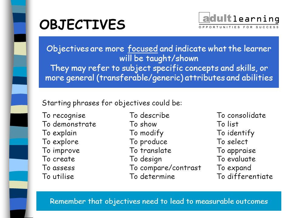 Remember that objectives need to lead to measurable outcomes