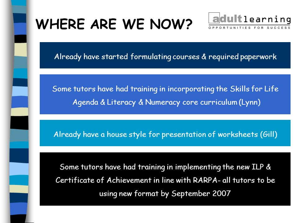 WHERE ARE WE NOW Already have started formulating courses & required paperwork. Some tutors have had training in incorporating the Skills for Life.