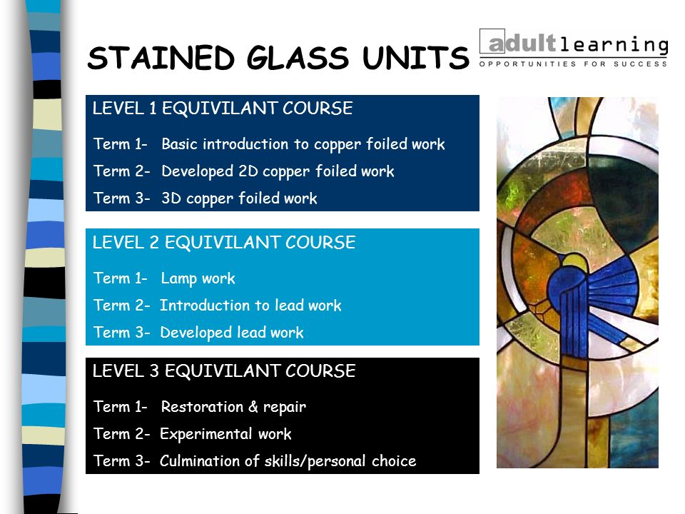 STAINED GLASS UNITS LEVEL 1 EQUIVILANT COURSE