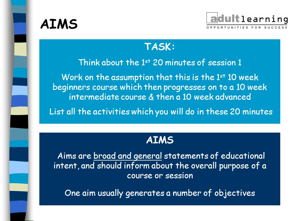 AIMS TASK: AIMS Think about the 1st 20 minutes of session 1