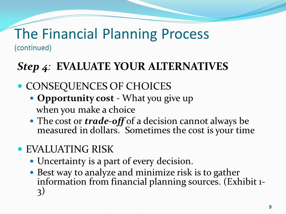 the financial planning and decisions for Ten reasons why financial planning is better financial understanding can be achieved when measurable financial goals are set, the effects of decisions.