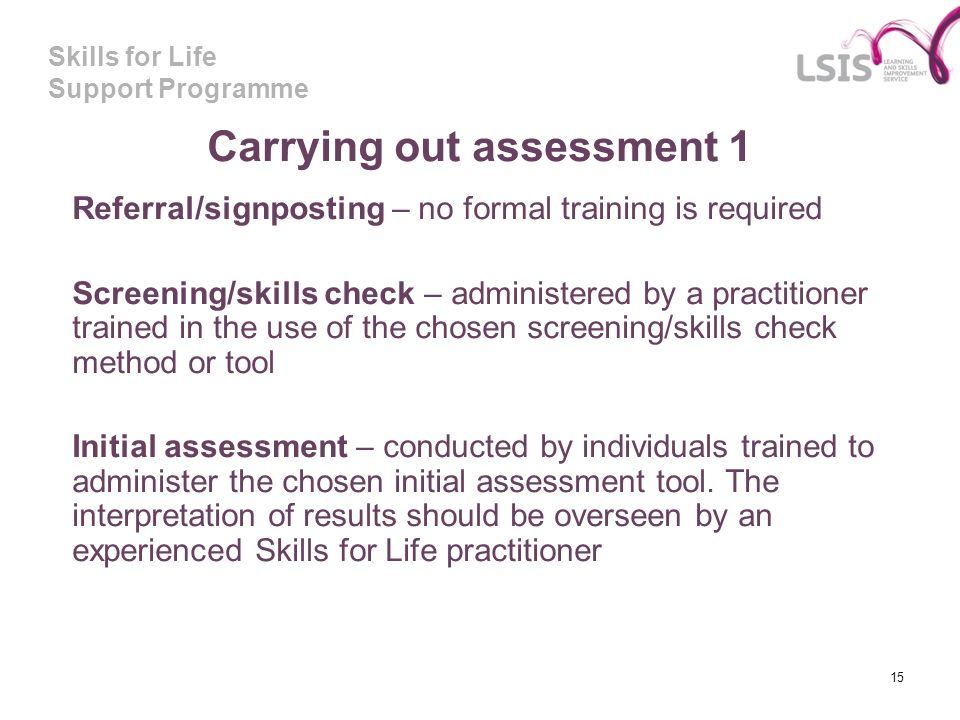 Carrying out assessment 1