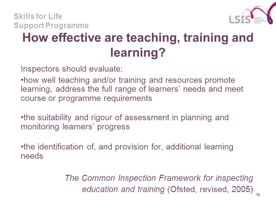 How effective are teaching, training and learning