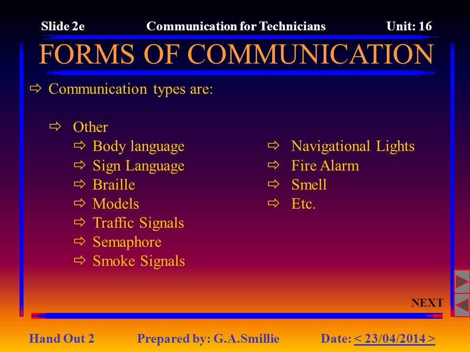 Slide 2e Communication for Technicians Unit: 16