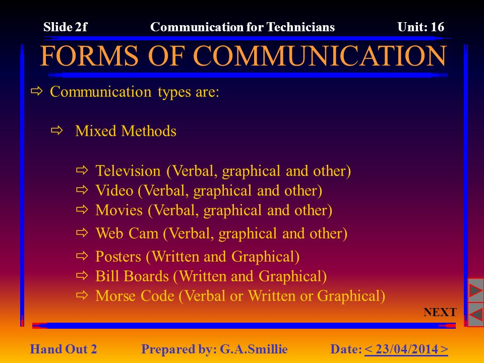 Slide 2f Communication for Technicians Unit: 16